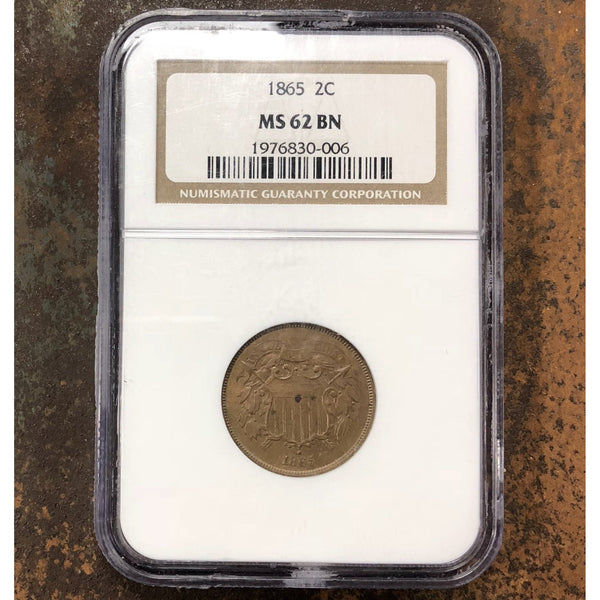 1865 Two Cent Piece Ngc Ms62 Bn *rev Tyes* #0006125
