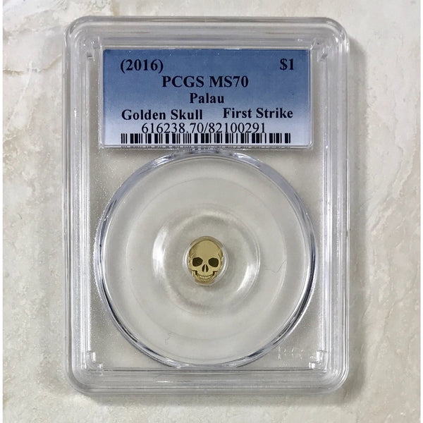 2016 Palau $1 Golden Skull Pcgs Ms70 *rev Tyes* #029190 Coin