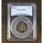 1912 S Lincoln Cent Pcgs Xf45 *rev Tyes* #026852