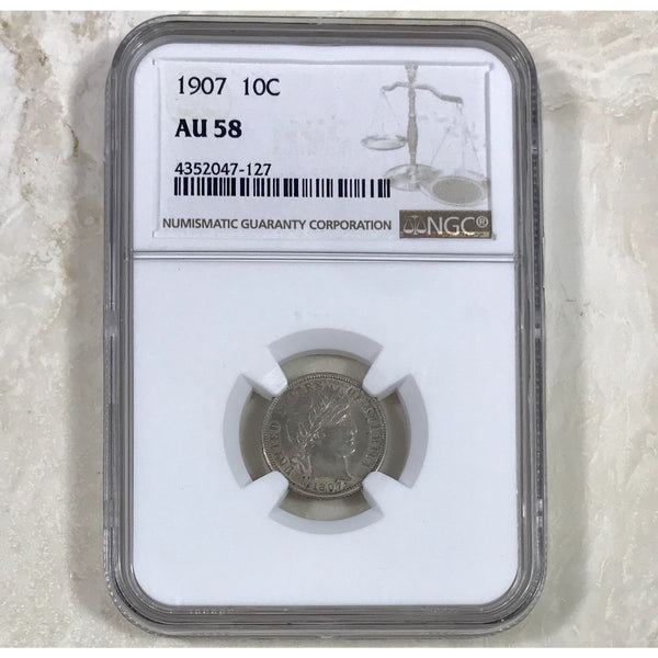 1907 Barber Dime Ngc Au58 *rev Tyes* #712777 Coin