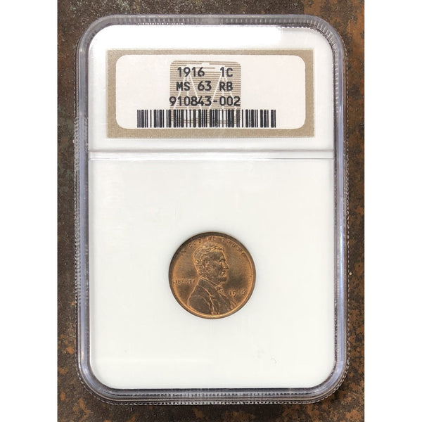 1916 Lincoln Cent Ngc Ms63 Rb *rev Tyes* #300240
