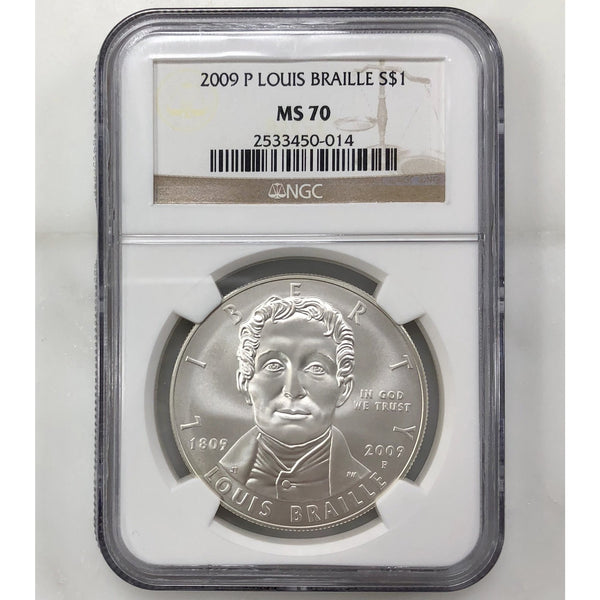2009 P Louis Braille Dollar Ngc Ms70 *rev Tyes* #001445 Coin
