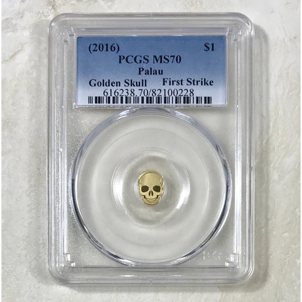 2016 $1 Palau Golden Skull Pcgs Ms70 *rev Tyes* #022891 Coin
