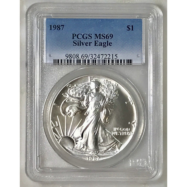 1987 Silver Eagle Pcgs Ms69 *rev Tyes* #221542 Coin