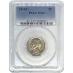 1941 D Jefferson Nickel Pcgs Ms67 *rev Tyes* #686370 Coin