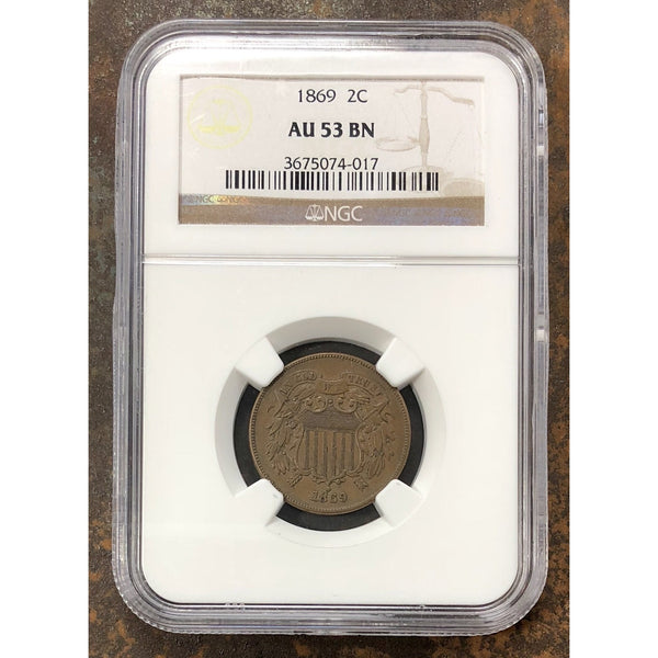1869 Two Cent Piece Ngc Au53 Bn *rev Tyes* #4017140