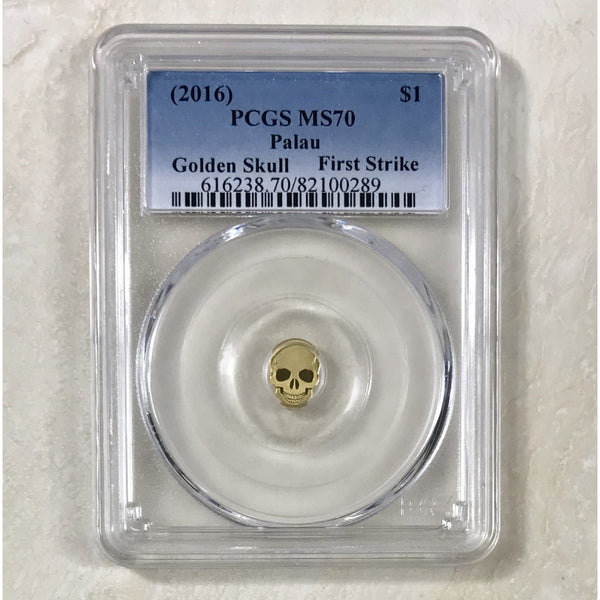 2016 Palau $1 Golden Skull Pcgs Ms70 *rev Tyes* #028990 Coin