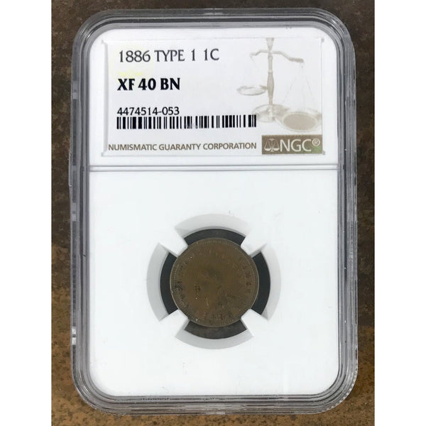 1886 Type 1 Indian Head Cent Ngc Xf40 Bn *rev Tyes* #4053