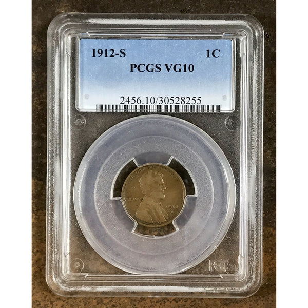 1912 S Lincoln Cent Pcgs Vg10 *rev Tyes* #8255