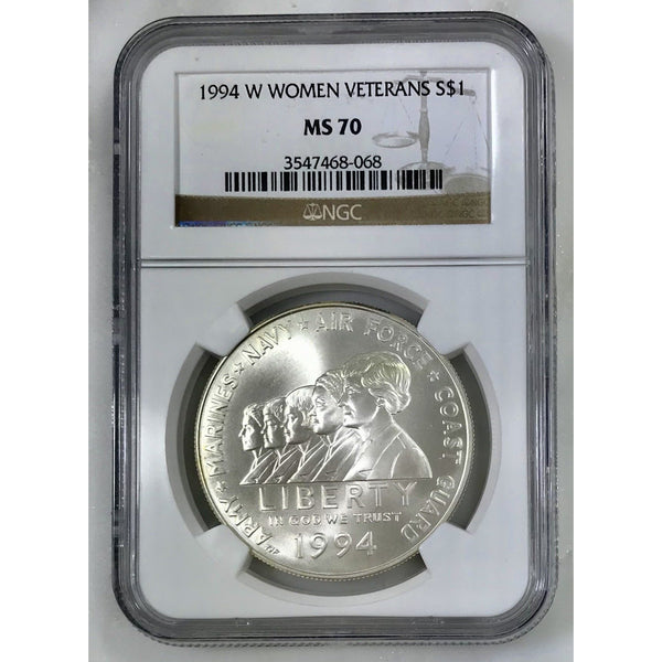 1994 W Women Veterans Dollar Ngc Ms70 #806862 Coin