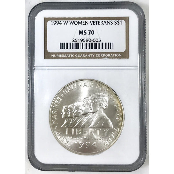 1994 W Women Veterans Dollar Ngc Ms70 000556 Coin