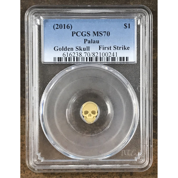 2016 Palau Gold Skull $1 Pcgs Ms70 *rev Tyes* #0241