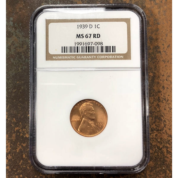 1939 D Lincoln Cent Ngc Ms67 Rd *rev Tyes* #7098