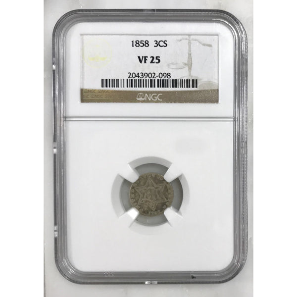 1858 Three Cent Silver Ngc Vf25 *rev Tyes* #209869 Coin