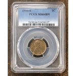 1910 S Lincoln Cent Pcgs Ms64 Bn *rev Tyes* #4117154