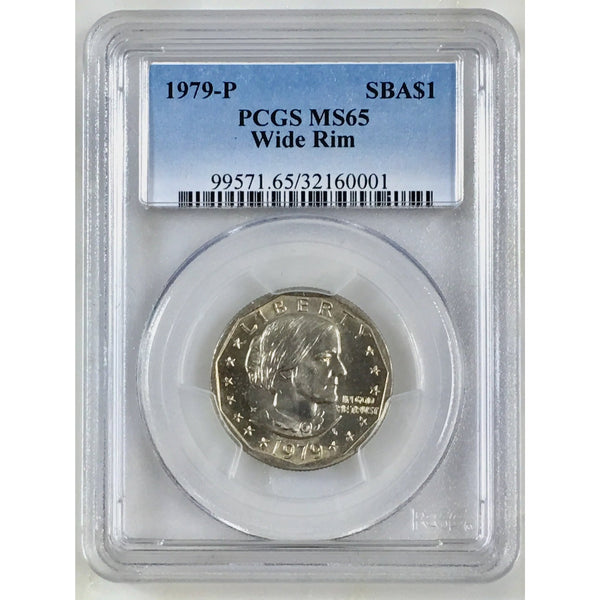 1979 P Susan B. Anthony Dollar Pcgs Ms65 Wide Rim 000153 Coin