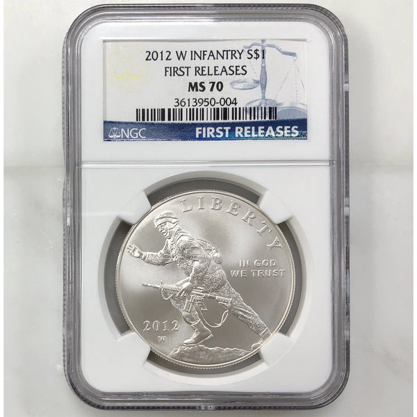 2012 W Infantry Dollar Ngc Ms70 *rev Tyes* #000464 Coin