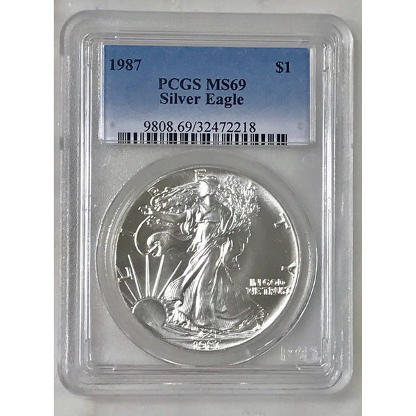 1987 Silver Eagle Dollar Pcgs Ms69 *rev Tyes* #221842 Coin