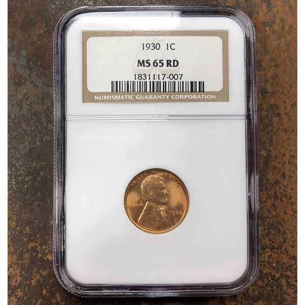 1930 Lincoln Cent Ngc Ms65 Rd *rev Tyes* #700750 Coin