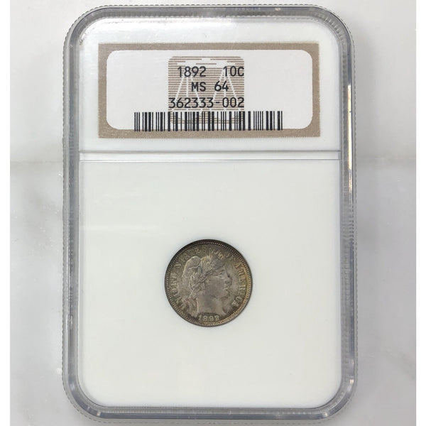1892 Barber Dime Ngc Ms64 *rev Tyes* #3002225