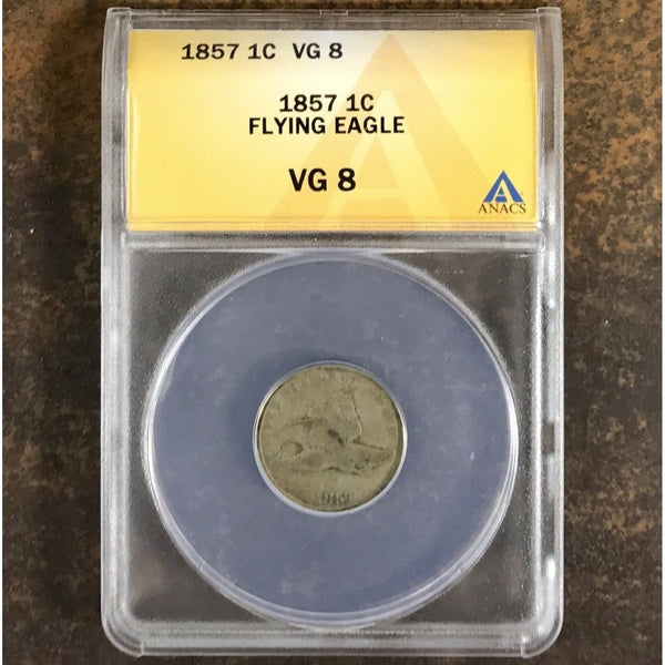 1857 Flying Eagle Cent Anacs Vg8 *rev Tyes* #5461