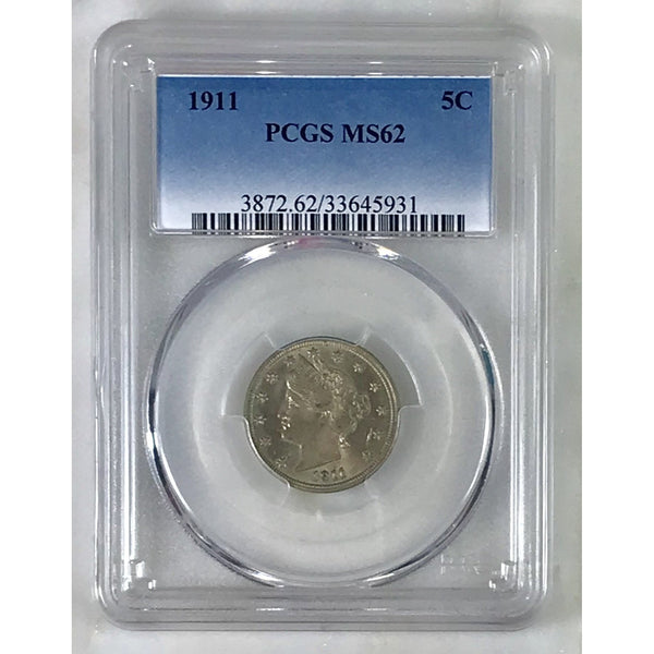 1911 Liberty Nickel Pcgs Ms62 *rev Tyes* #5931