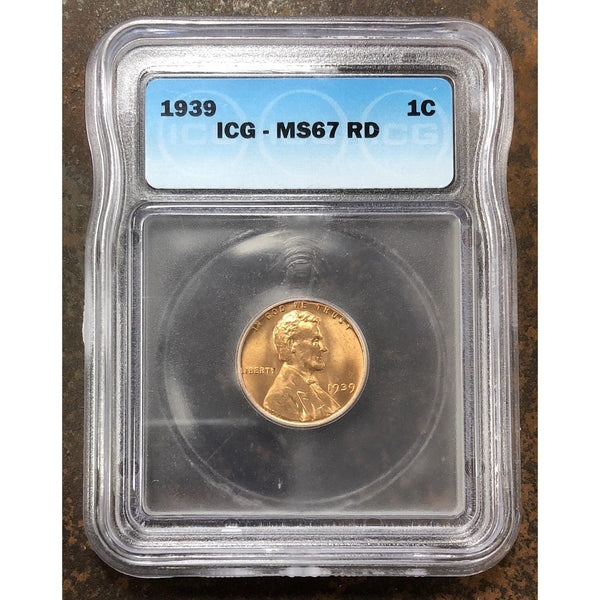 1939 Lincoln Cent Icg Ms67Rd *rev Tyes* #070461 Coin