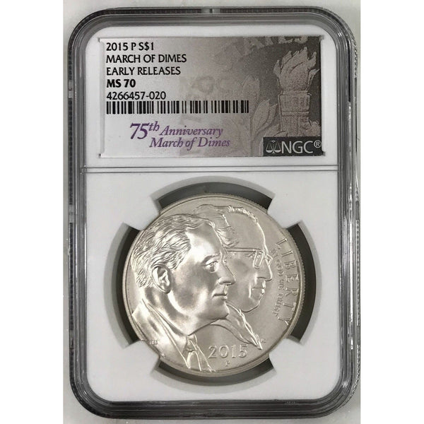 2015 P March Of Dimes Dollar Ngc Ms70 #702068 Coin