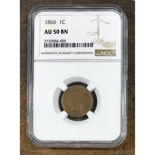 1866 Indian Head Cent Ngc Au50Bn *rev Tyes* #4005207 Coin