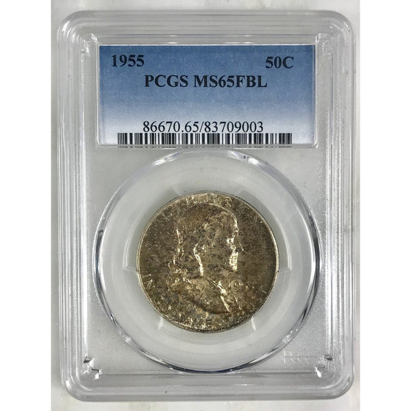 1955 Franklin Half Pcgs Ms65Fbl *rev Tyes* #900355 Coin