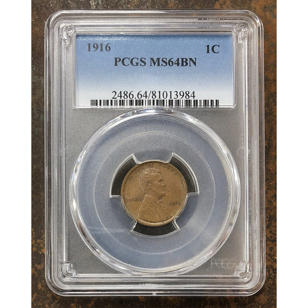 1916 Lincoln Cent Pcgs Ms64 Bn *rev Tyes* #398455 Coin