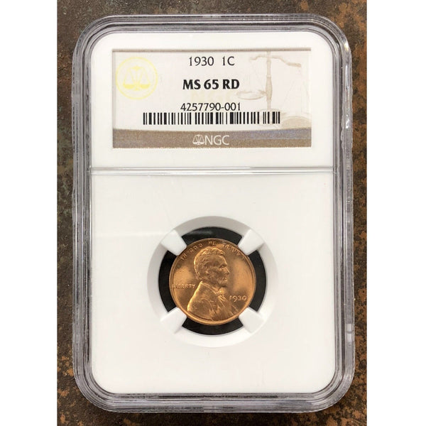 1930 Lincoln Cent Ngc Ms65 Rd *rev Tyes* #000145 Coin
