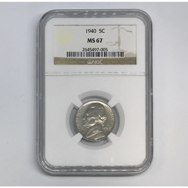 1940 Jefferson Nickel Ngc Ms67 *rev Tyes* #700590 Coin
