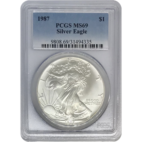 1987 Silver Eagle Pcgs Ms69 *rev Tyes* #433542