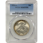 1954-S Franklin Half Pcgs Ms65Fbl *rev Tyes* #5367 Coin