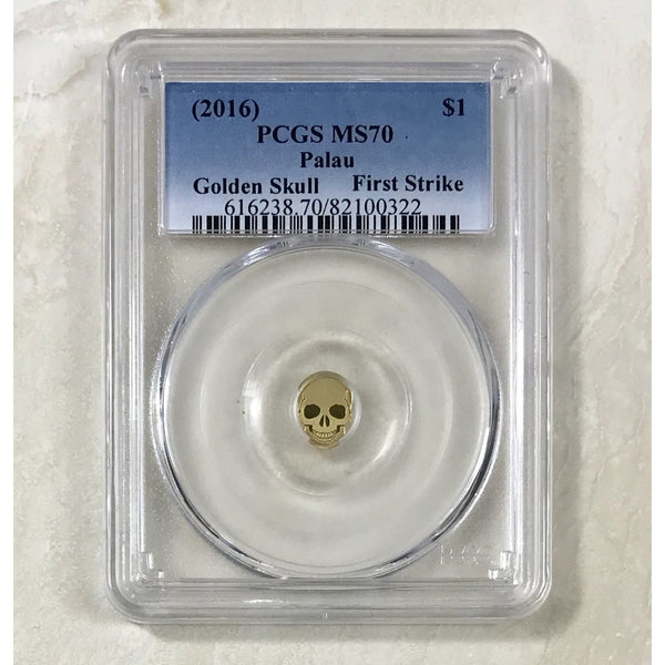 2016 Palau $1 Golden Skull Pcgs Ms70 *rev Tyes* #032290 Coin