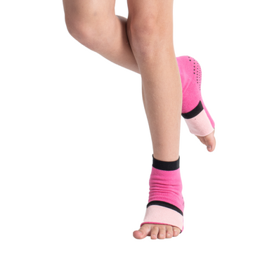 Big Kids Ankle Sock with Compression - Hot Pink/Light Pink