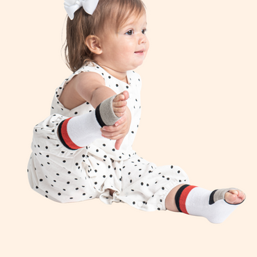 Baby Gripper Sock | White with red stripe and gray flip