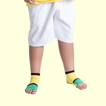 Big Kids Ankle Sock with Compression - Yellow/Teal Green