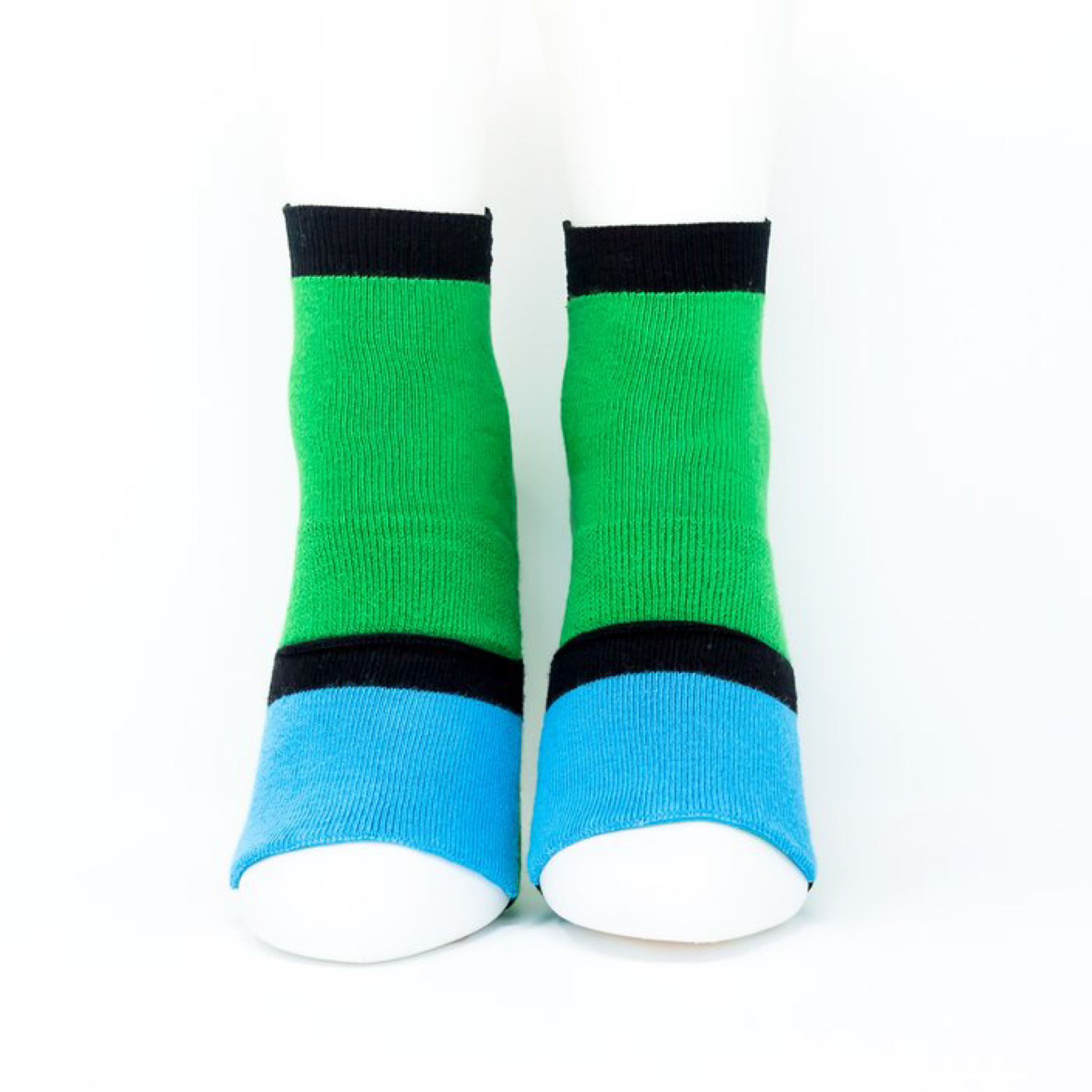Adult Ankle Sock with Compression - Green/Sky Blue