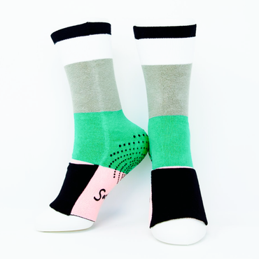 Big Kids Sockabu Socks - Mint/Light Pink/Black