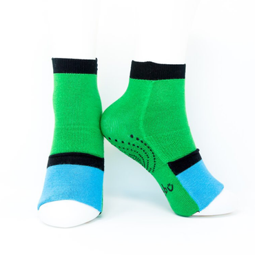 Big Kids Ankle Sock with Compression - Green/Sky Blue