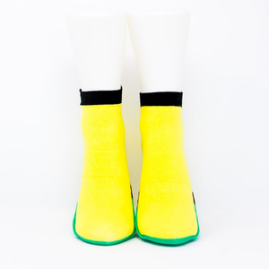 Adult Ankle Sock with Compression - Yellow/Teal Green