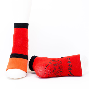 Adult Ankle Sock with Compression - Red/Orange