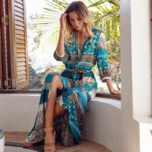 Tropical Bohemian Long Sleeved Maxi Dress
