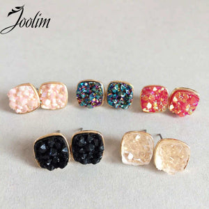 Faux Druzy Round Stud Earrings