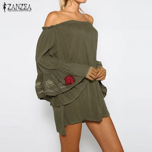Big Bell Sleeves Khaki Dress