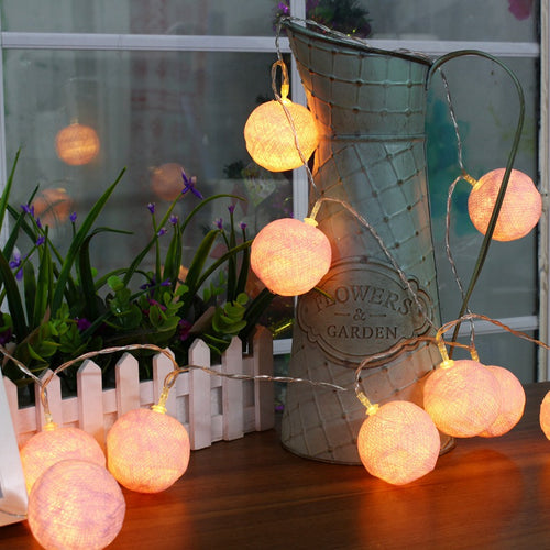Cotton Ball 10 LED String Lights