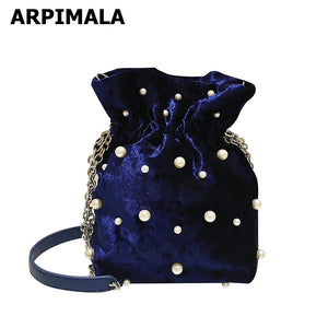 Velvety Pearl Bucket Bag