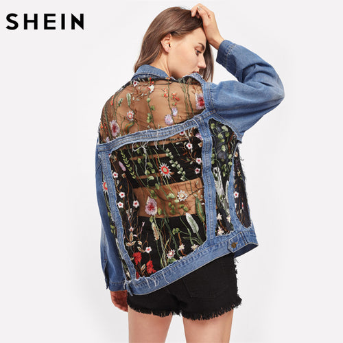 Flower Catcher Oversize Denim Jacket